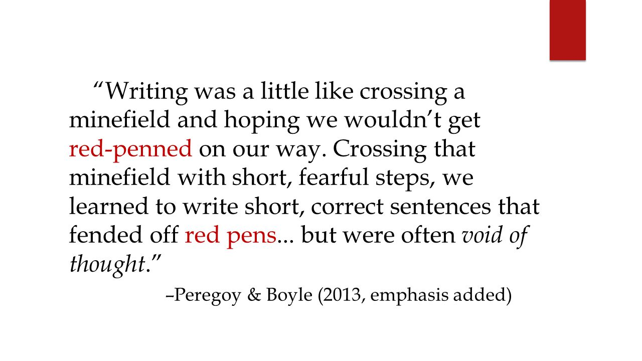 Writing was a little like crossing a minefield and hoping we wouldn't get