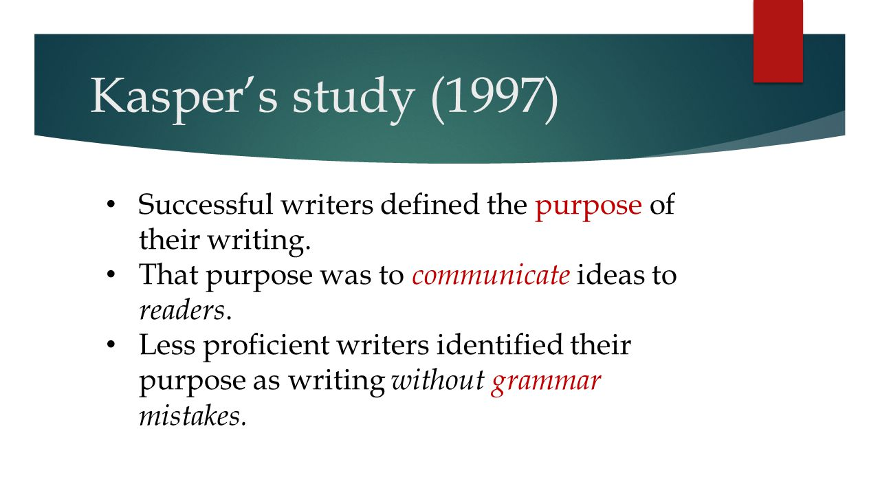 Kasper's study (1997) Successful writers defined the purpose of their writing. That purpose was to communicate ideas to readers.
