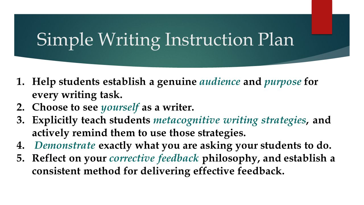 Simple Writing Instruction Plan