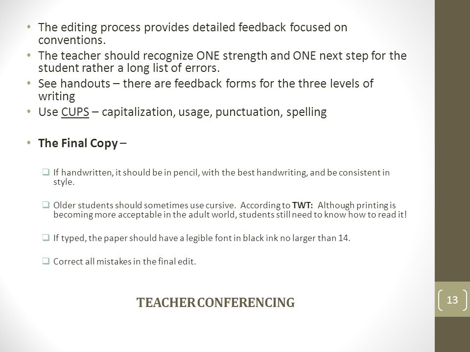 The editing process provides detailed feedback focused on conventions.