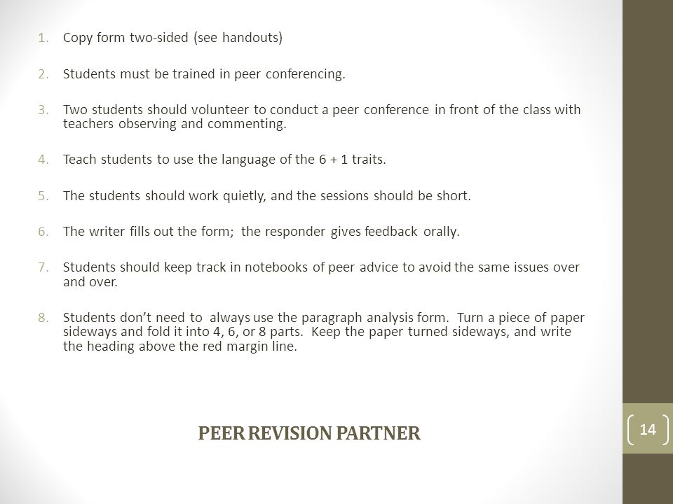 PEER REVISION PARTNER Copy form two-sided (see handouts)