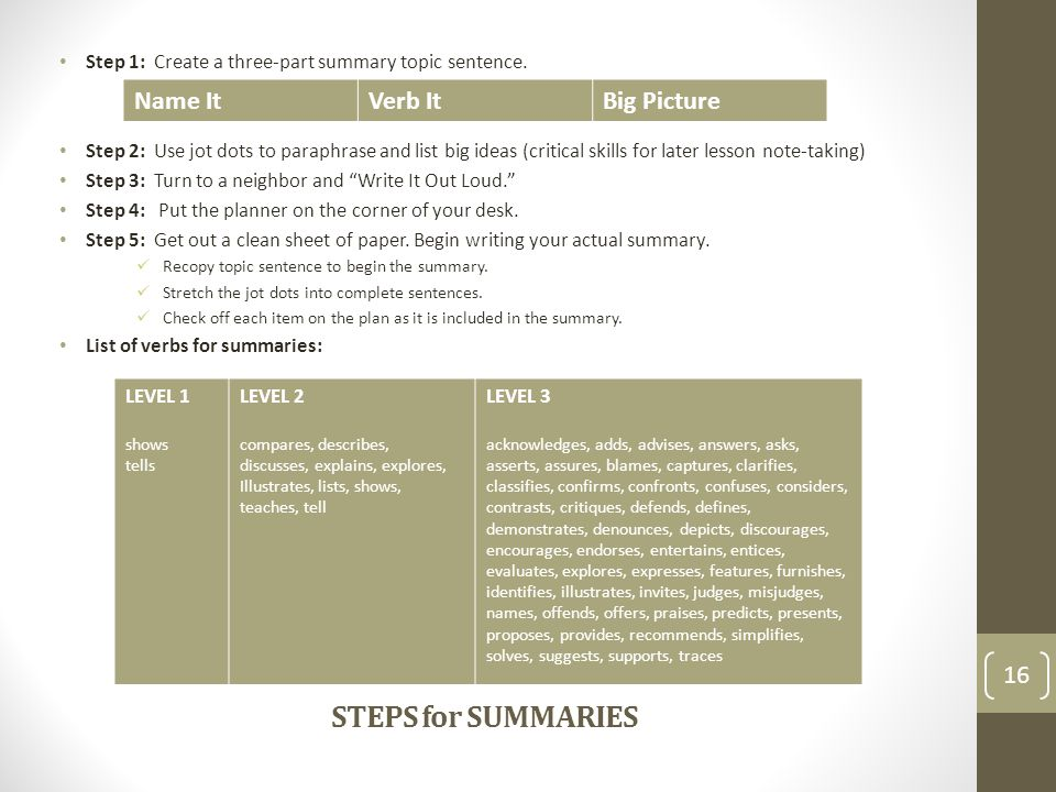 STEPS for SUMMARIES Name It Verb It Big Picture