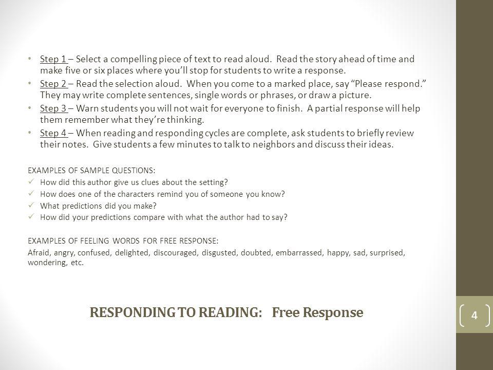 RESPONDING TO READING: Free Response