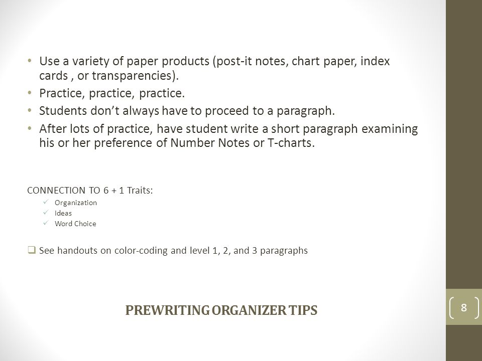 PREWRITING ORGANIZER TIPS