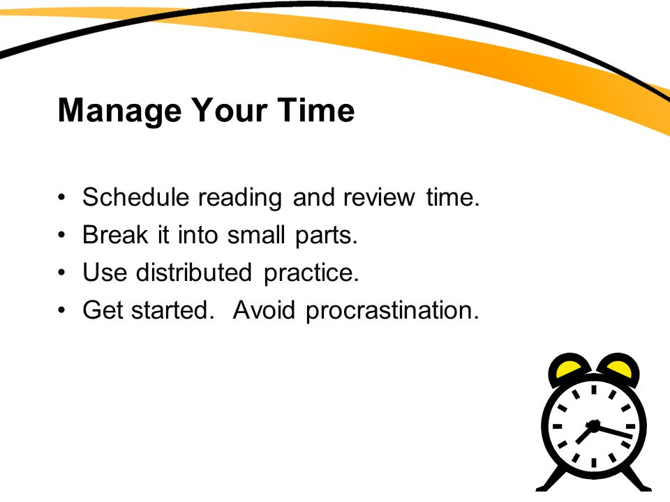 Manage Your Time Schedule reading and review time.