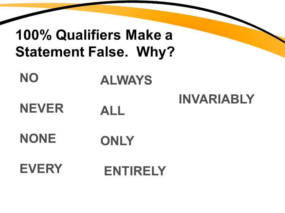 100% Qualifiers Make a Statement False. Why