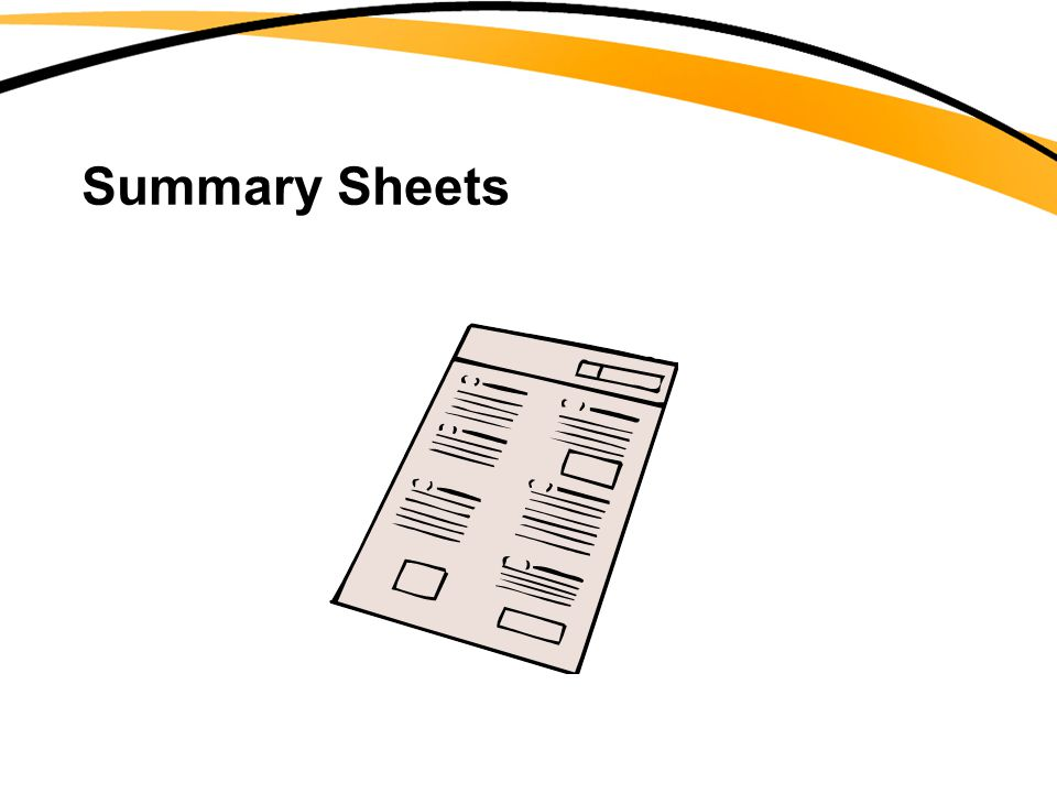Summary Sheets