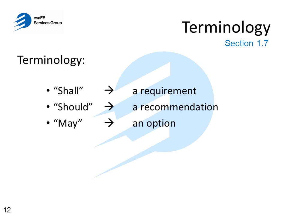 Terminology Terminology: Shall  a requirement