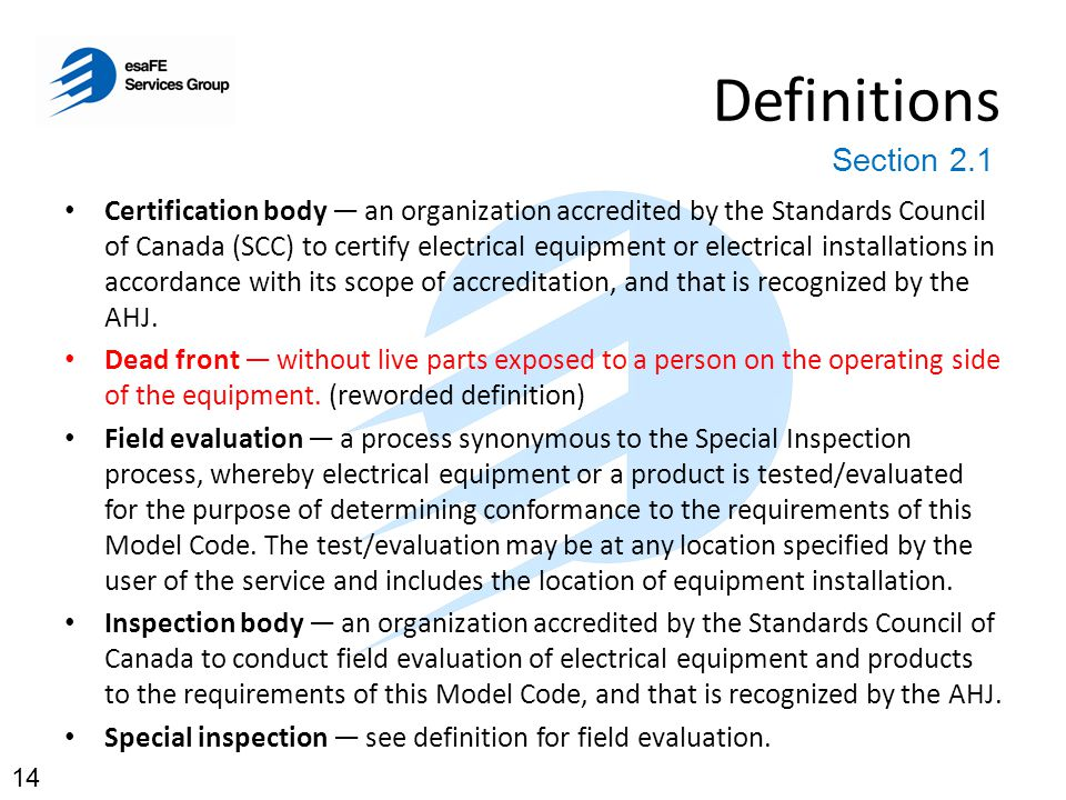 Definitions Section 2.1.