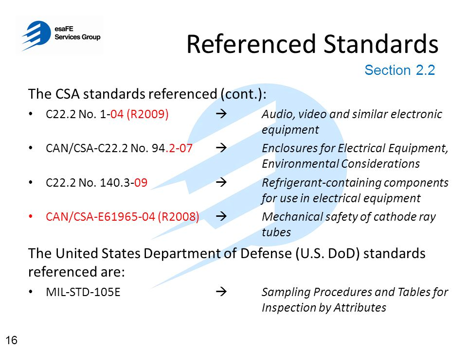 Referenced Standards The CSA standards referenced (cont.):