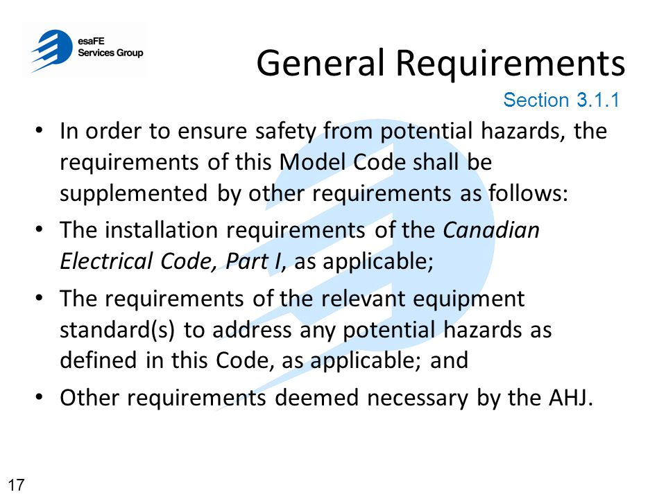 General Requirements Section 3.1.1.