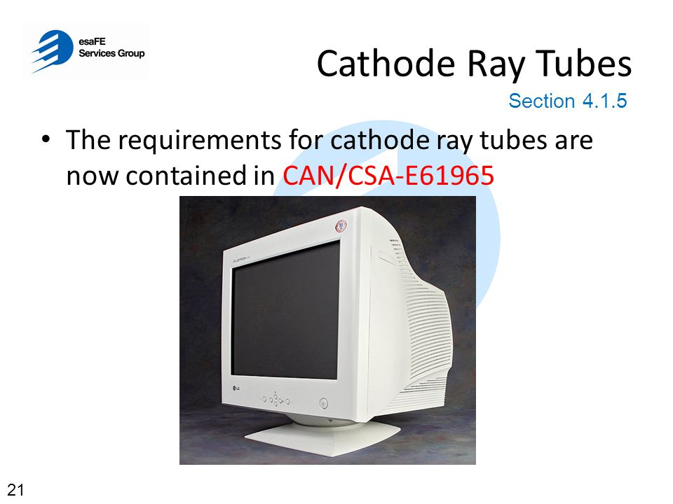 Cathode Ray Tubes Section 4.1.5. The requirements for cathode ray tubes are now contained in CAN/CSA-E61965.