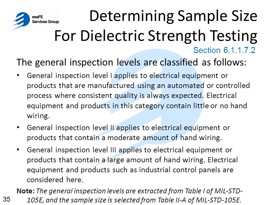 Determining Sample Size For Dielectric Strength Testing