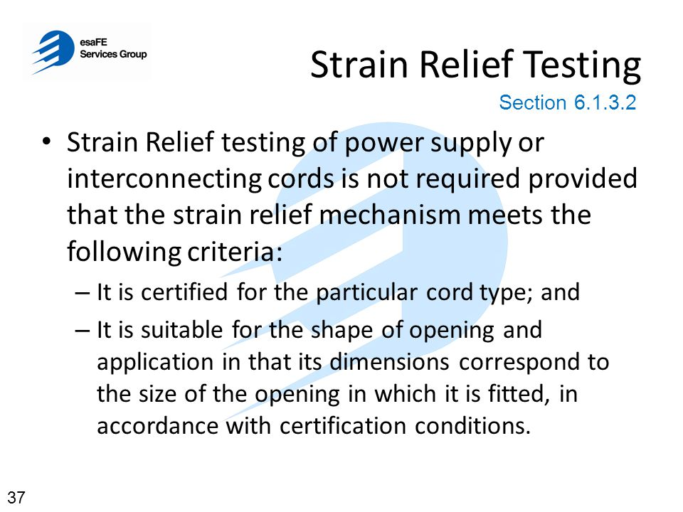 Strain Relief Testing Section 6.1.3.2.