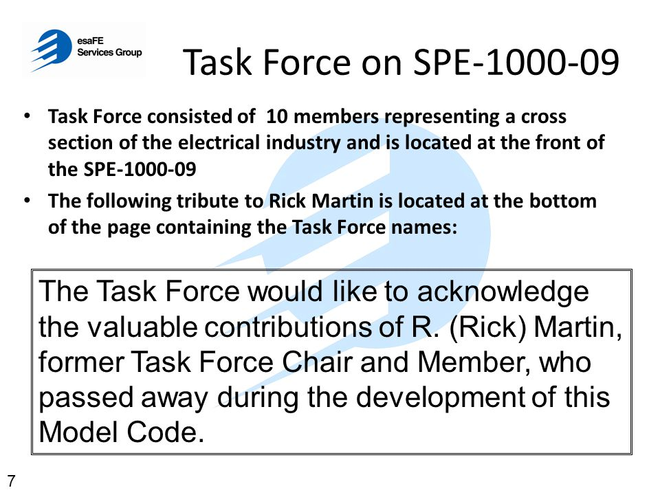 Task Force on SPE-1000-09