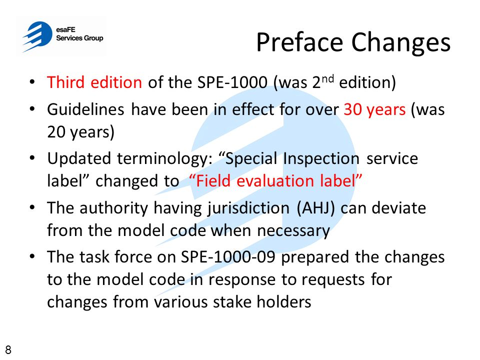 Preface Changes Third edition of the SPE-1000 (was 2nd edition)