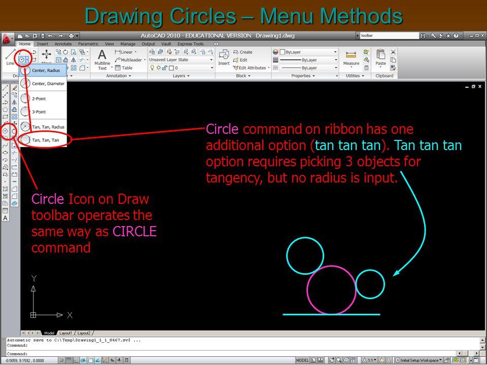 Drawing Circles – Menu Methods