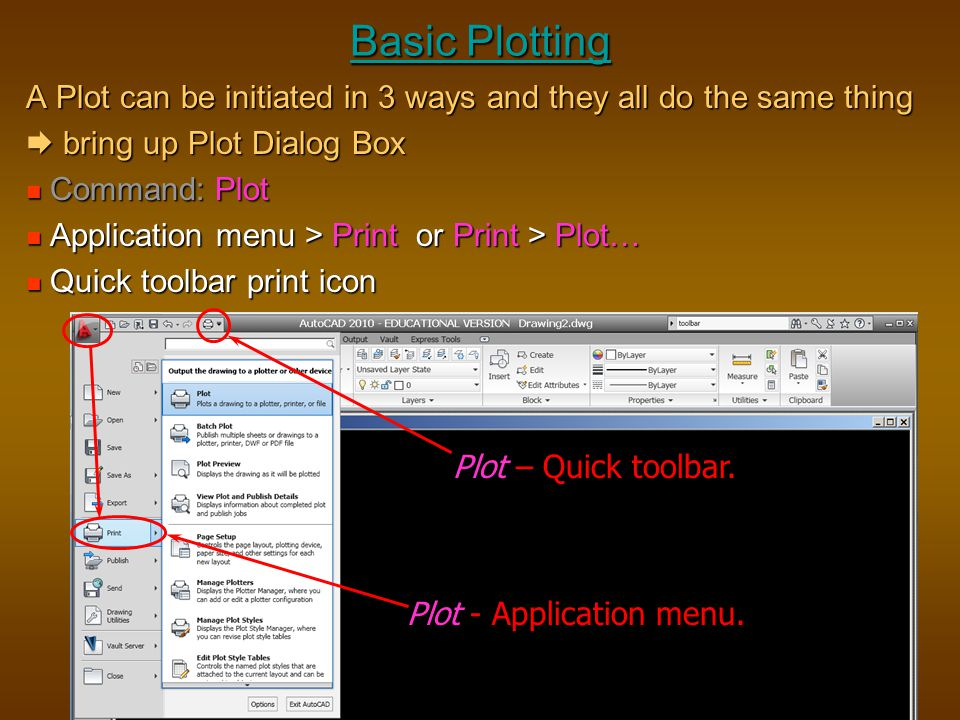 Basic Plotting A Plot can be initiated in 3 ways and they all do the same thing.  bring up Plot Dialog Box.