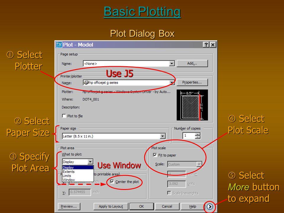 Basic Plotting Plot Dialog Box  Select Plotter Use J5