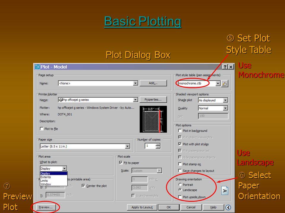 Basic Plotting  Set Plot Style Table Plot Dialog Box