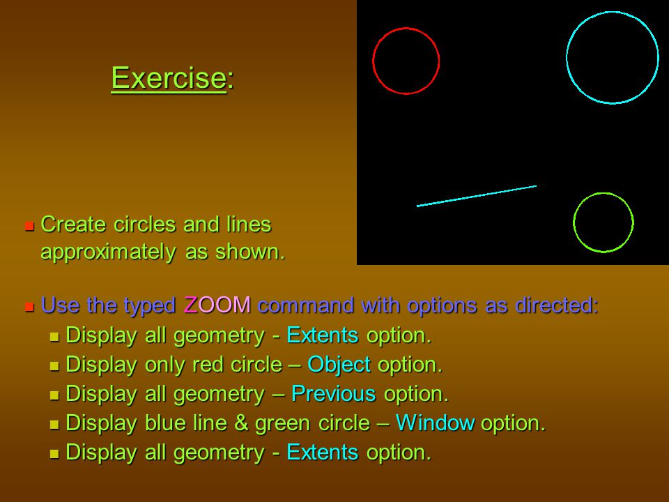 Exercise: Create circles and lines approximately as shown.