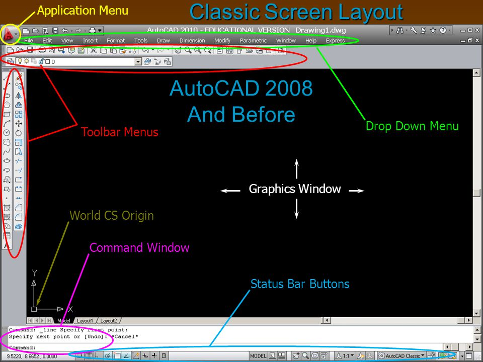 Classic Screen Layout AutoCAD 2008 And Before Application Menu