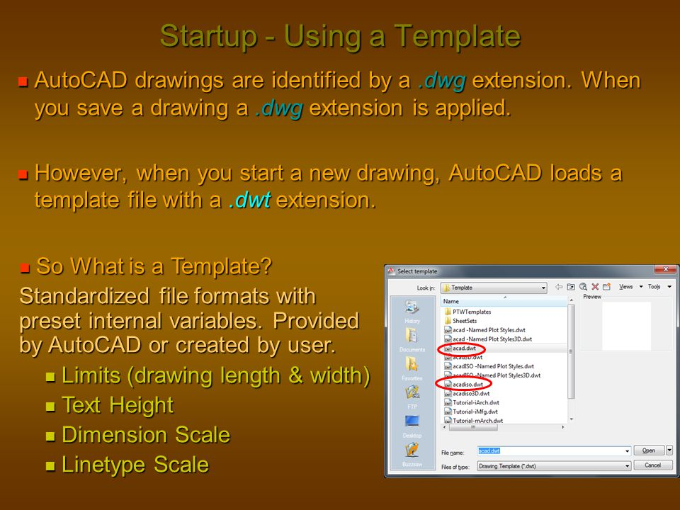 Startup - Using a Template