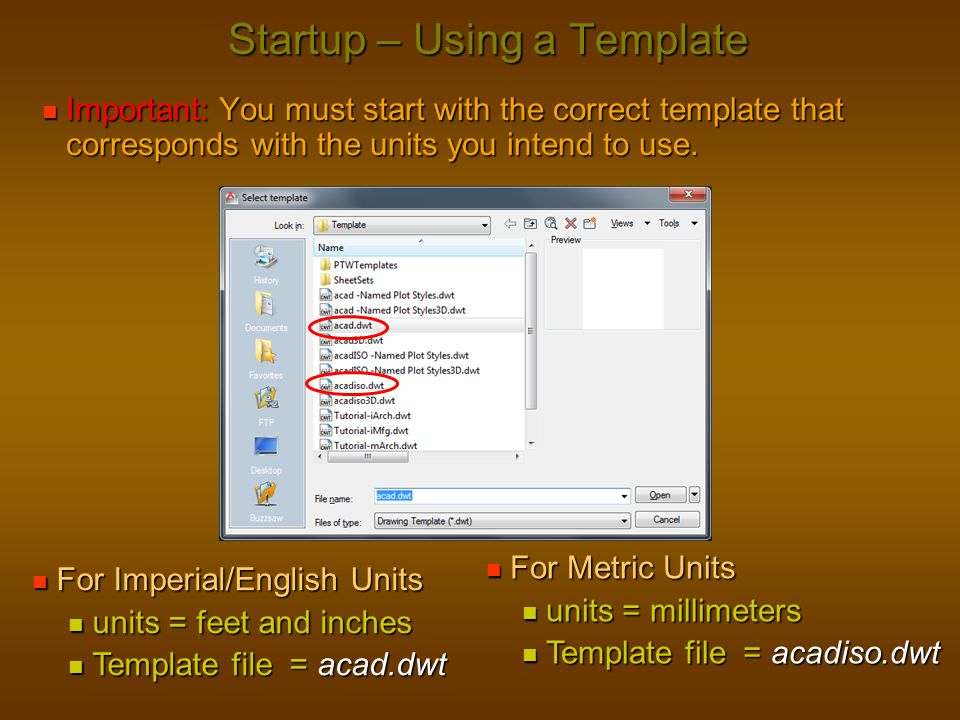 Startup – Using a Template