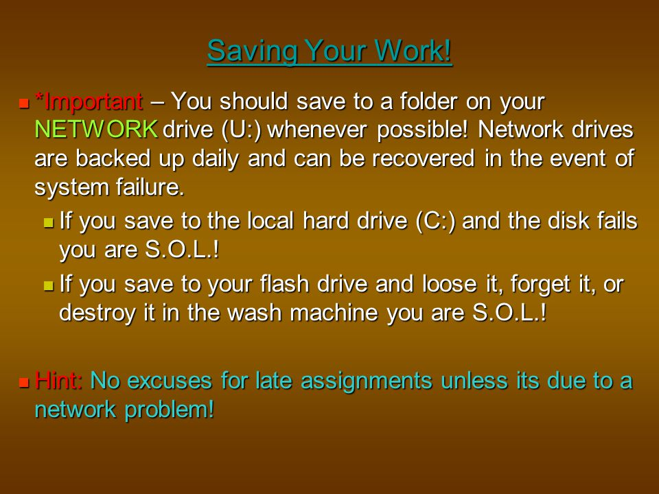 Saving Your Work!