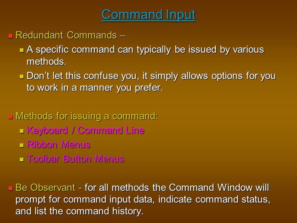 Command Input Redundant Commands –