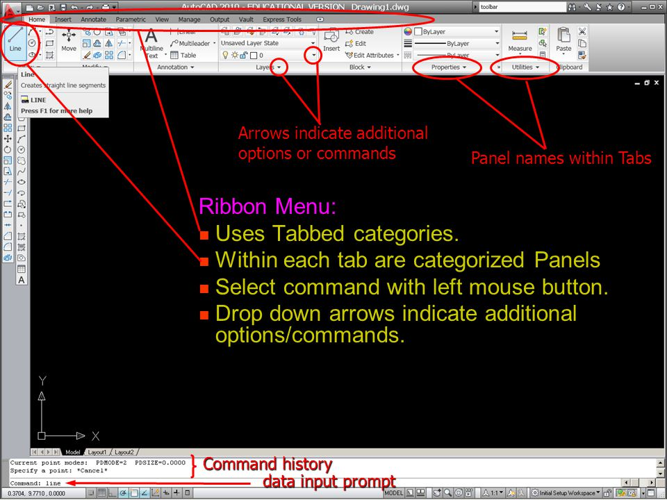 Uses Tabbed categories. Within each tab are categorized Panels