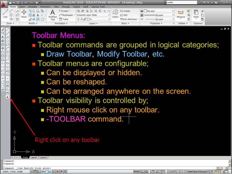 Toolbar commands are grouped in logical categories;