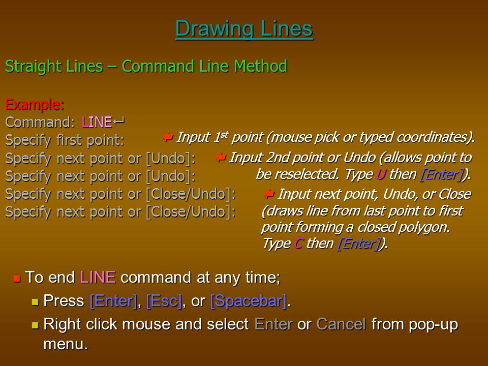 Drawing Lines Straight Lines – Command Line Method