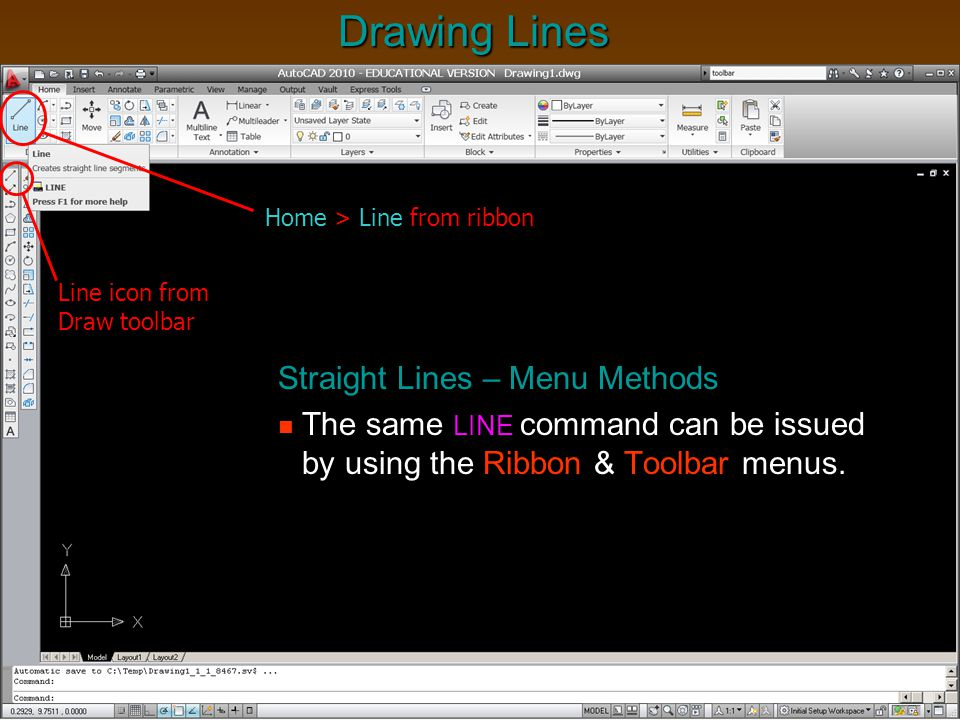 Line Drawing Using Direct Method : Engt cad i outline chapter intro to