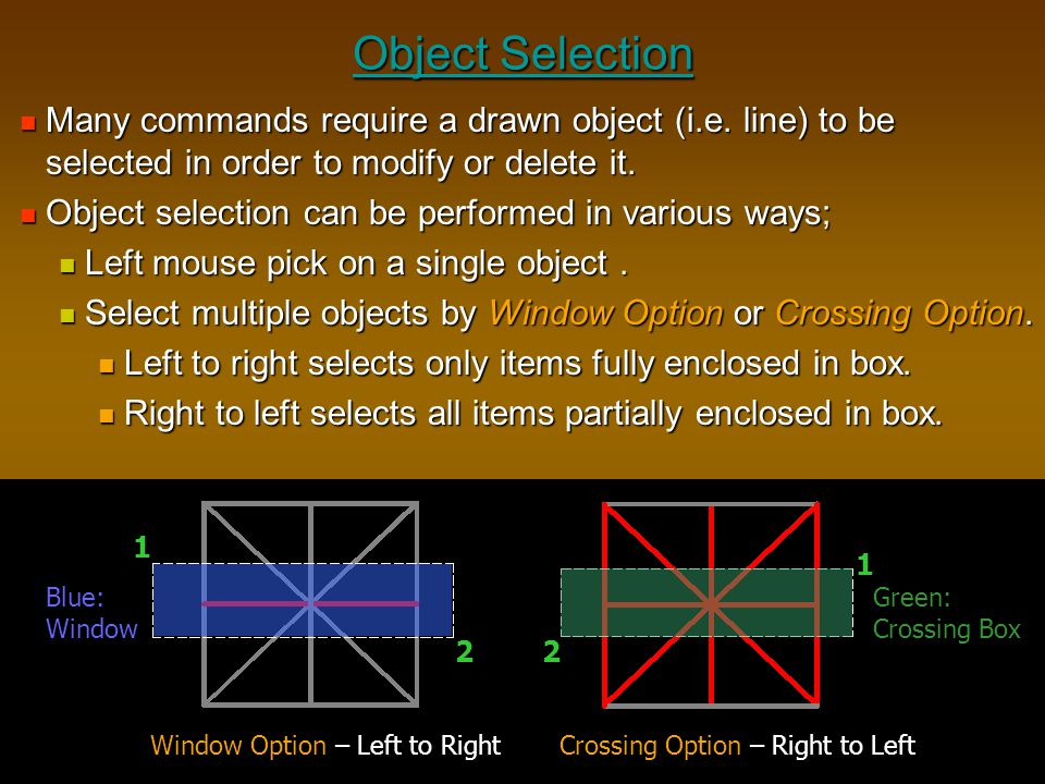 Object Selection Many commands require a drawn object (i.e. line) to be selected in order to modify or delete it.