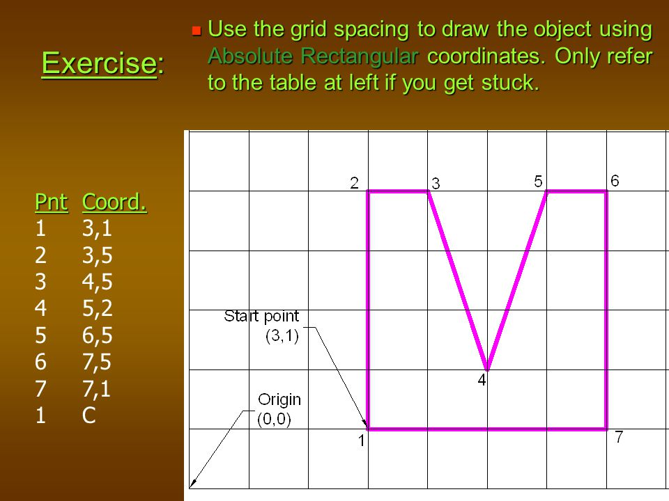 Use the grid spacing to draw the object using Absolute Rectangular coordinates. Only refer to the table at left if you get stuck.