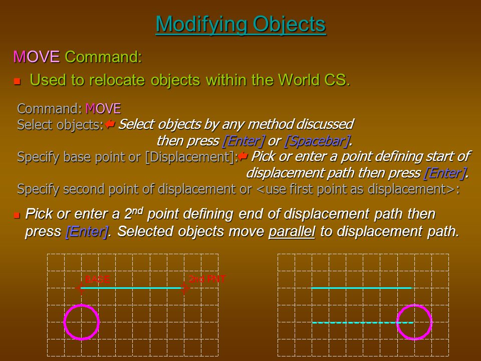 Modifying Objects MOVE Command:
