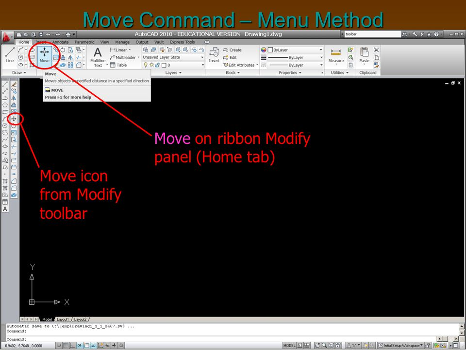 Move Command – Menu Method