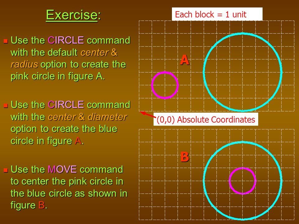 Exercise: Each block = 1 unit. Use the CIRCLE command with the default center & radius option to create the pink circle in figure A.