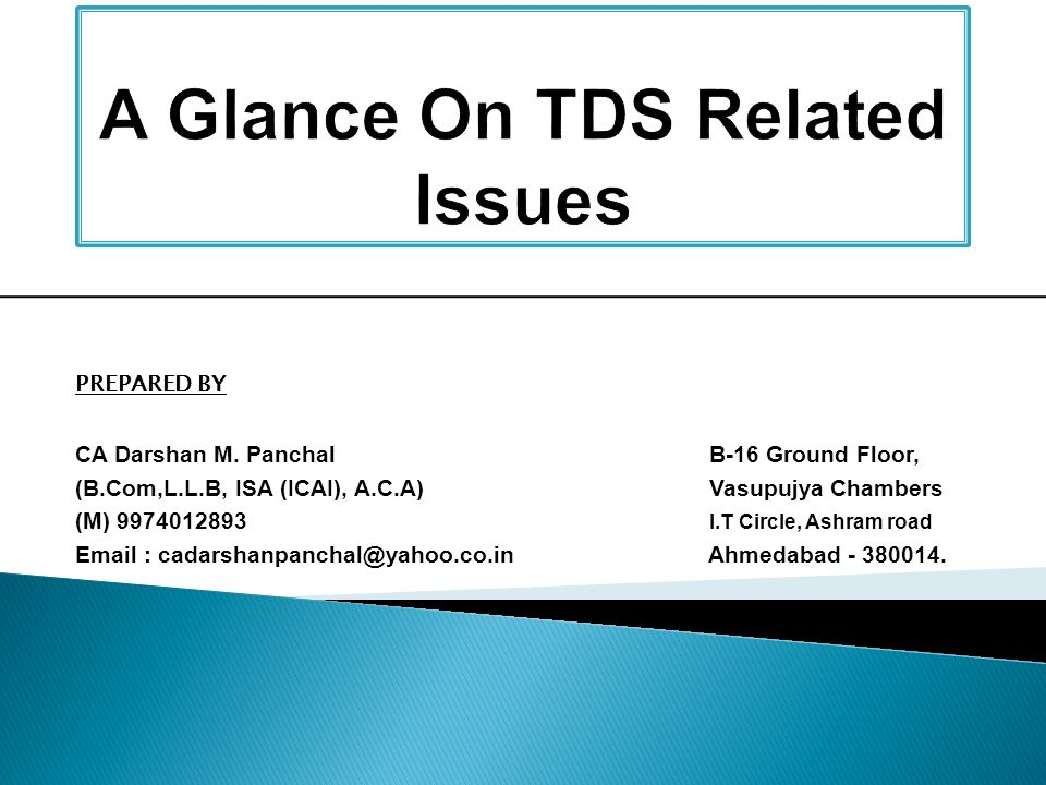 A Glance On TDS Related Issues