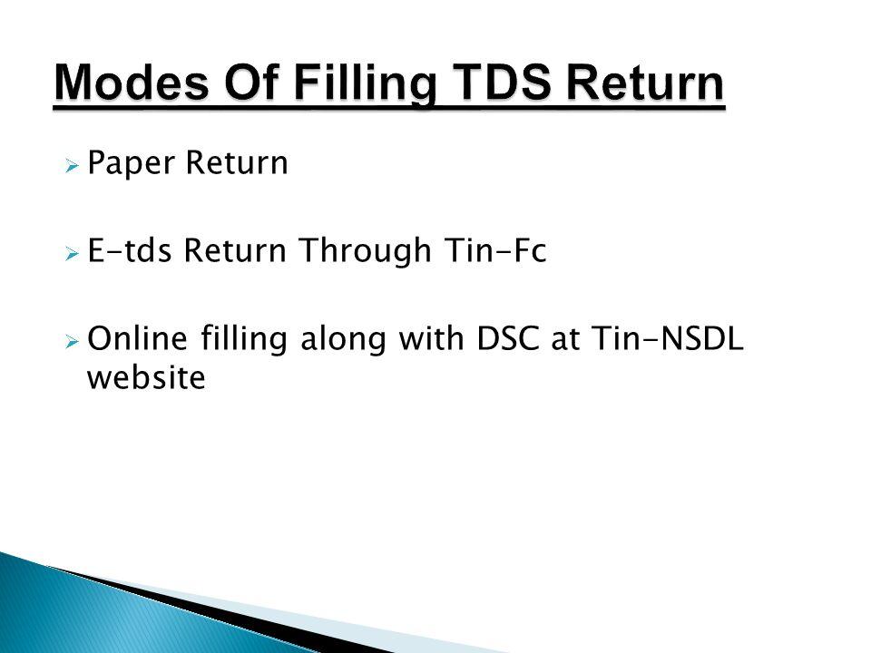 Modes Of Filling TDS Return