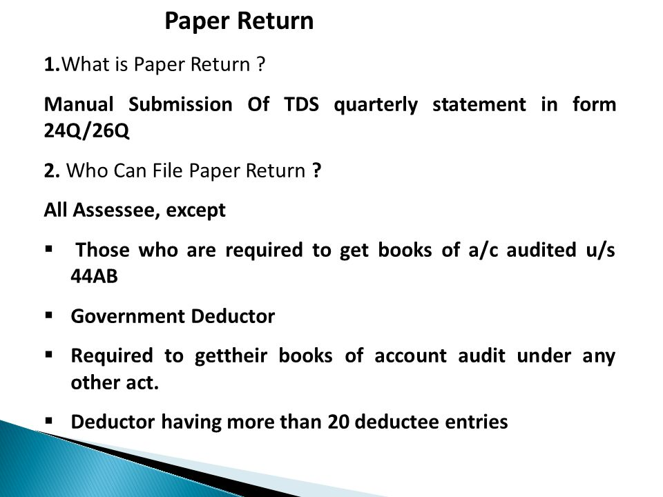 Paper Return 1.What is Paper Return