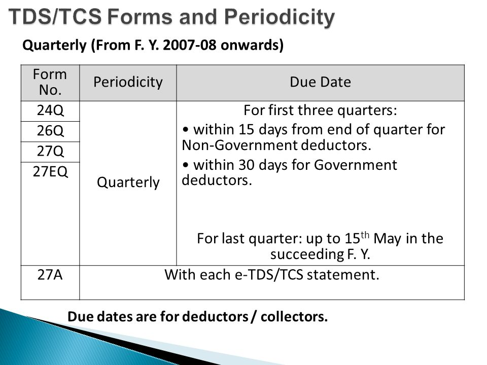 TDS/TCS Forms and Periodicity