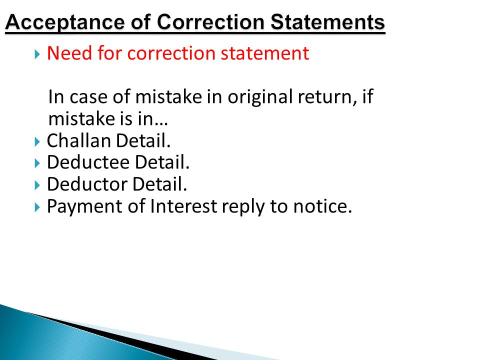 Acceptance of Correction Statements