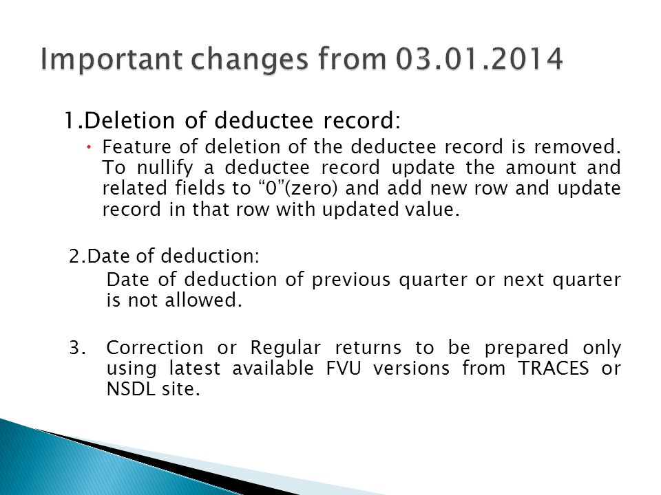 Important changes from 03.01.2014