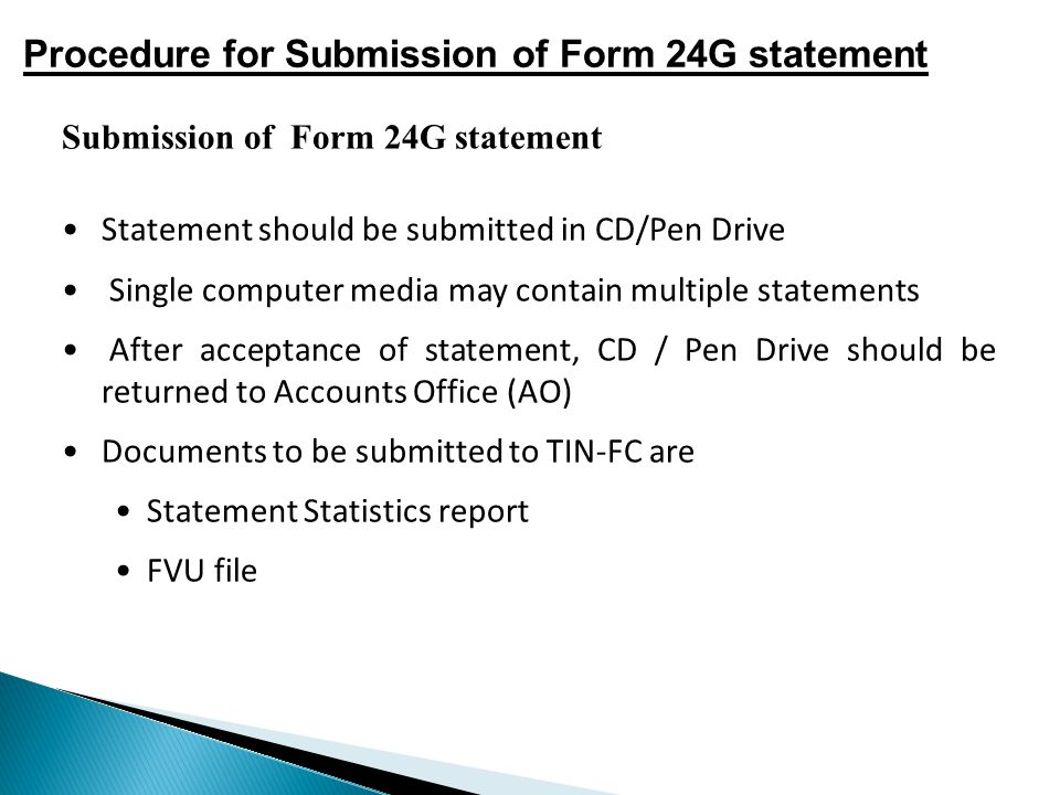 Procedure for Submission of Form 24G statement