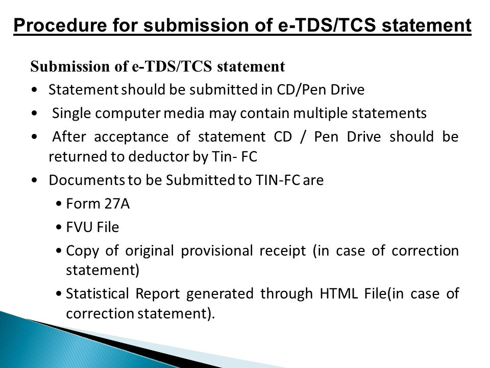 Procedure for submission of e-TDS/TCS statement