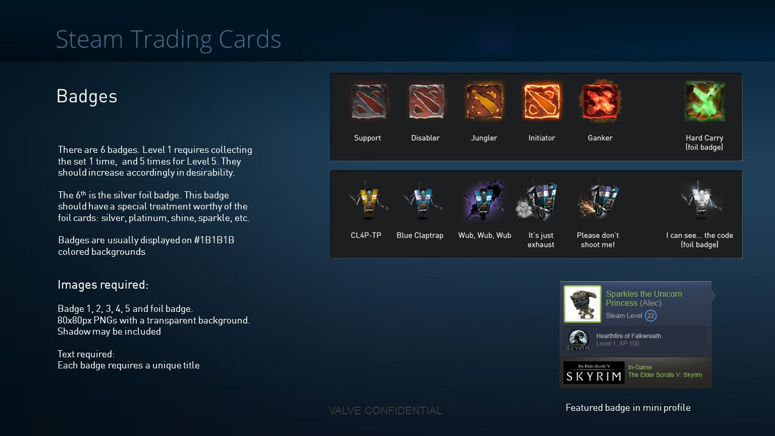 Steam Trading Cards Badges Images required: VALVE CONFIDENTIAL