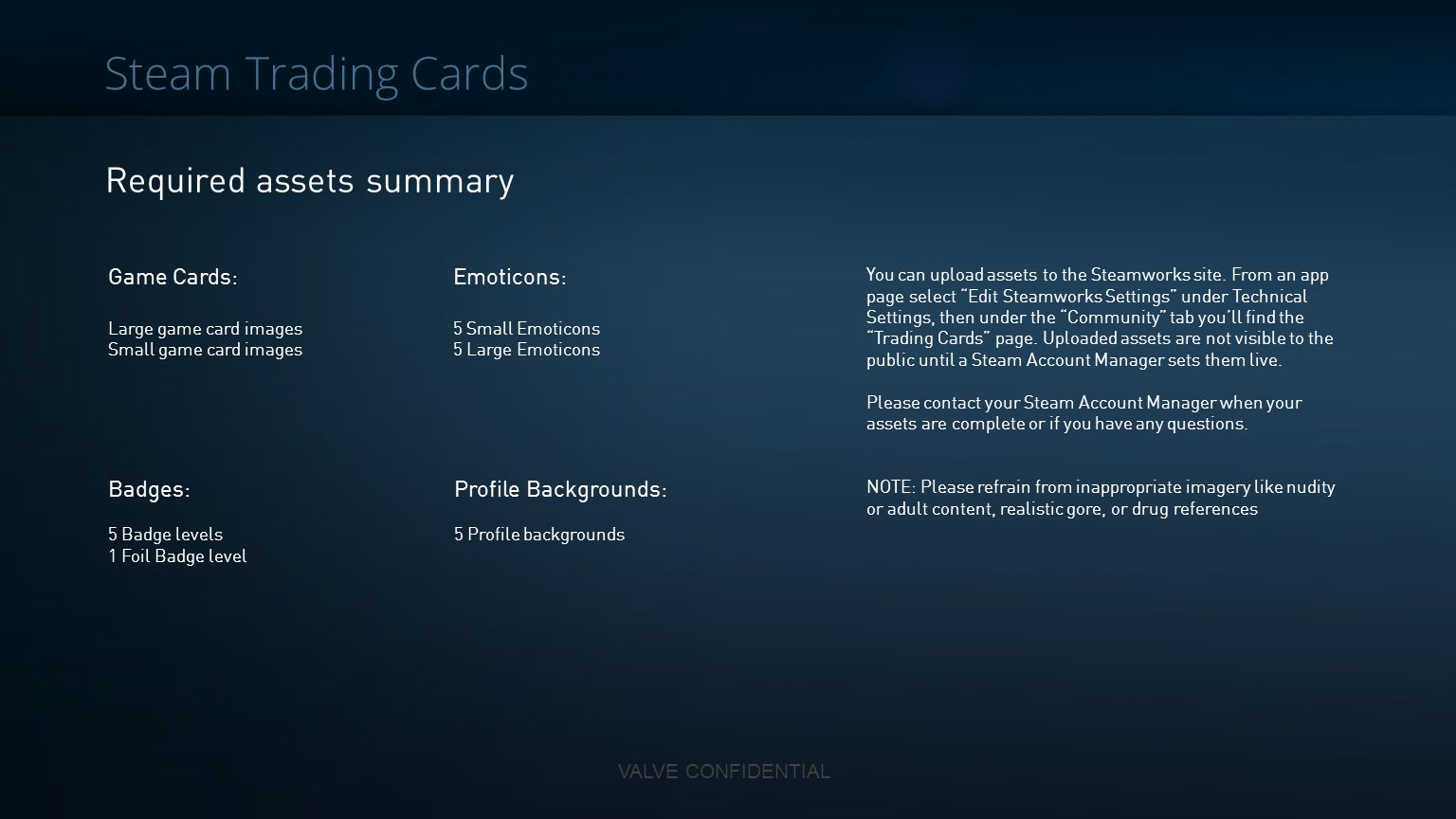 Steam Trading Cards Required assets summary Game Cards: Emoticons: