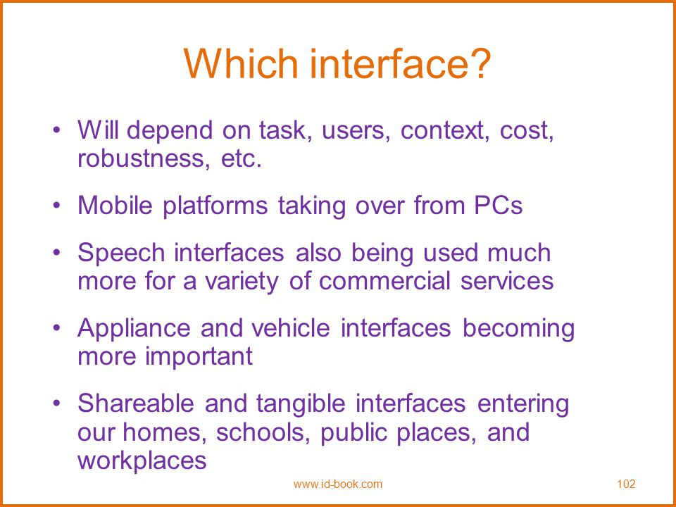 Which interface Will depend on task, users, context, cost, robustness, etc. Mobile platforms taking over from PCs.